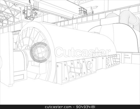 Illustration of equipment for heating system stock vector clipart, Illustration of equipment for heating system on white by cherezoff