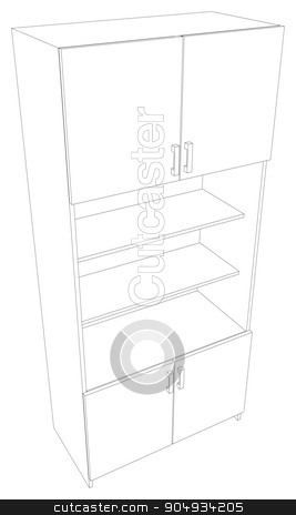 Illustration of cabinet stock vector clipart, Illustration of cabinet on white background. Vector illustration by cherezoff