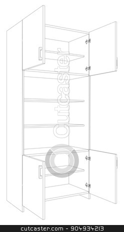 Illustration of open cabinet stock vector clipart, Illustration of open cabinet on white background, side view by cherezoff
