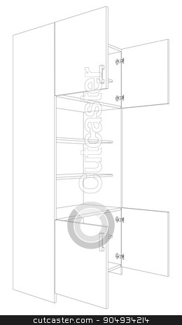Illustration of open cabinet stock vector clipart, Illustration of open cabinet on white background, vector illustration by cherezoff