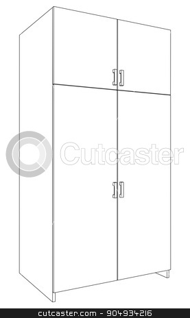 Illustration of closed cabinet stock vector clipart, Illustration of closed cabinet on white background, side view by cherezoff