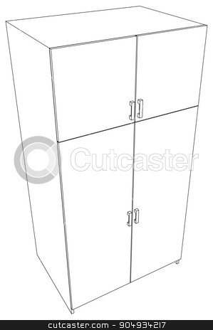 Illustration of closed cabinet stock vector clipart, Illustration of closed cabinet on white background, vector illustration by cherezoff