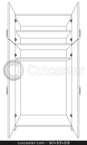Image of open cabinet stock vector clipart, Image of open cabinet on white background, vector by cherezoff