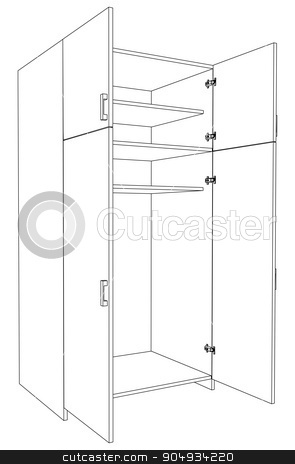 Image of open cabinet stock vector clipart, Image of open cabinet on white background, side view by cherezoff