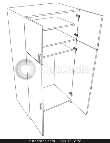 Image of open cabinet stock vector clipart, Image of open cabinet on white background, top view by cherezoff