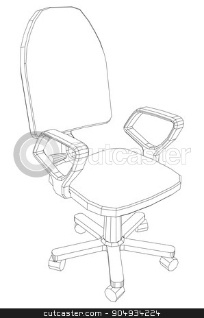 Illustration of chair stock vector clipart, Illustration of chair on white background, side view by cherezoff