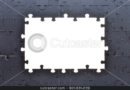 Grey puzzle background with empty space stock photo, Puzzle background with big empty white space, top view by cherezoff