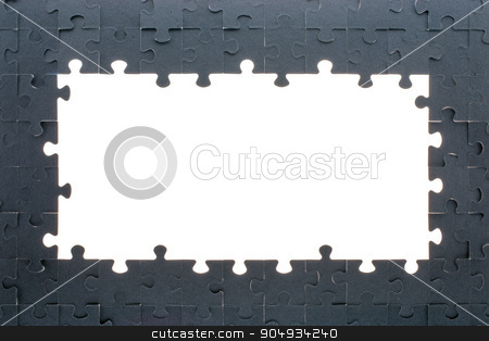 Grey puzzle background with empty space stock photo, Puzzle background with big empty white space by cherezoff