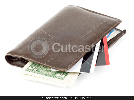 Leather wallet on white stock photo, Leather brown wallet with credits on isolated white background by cherezoff