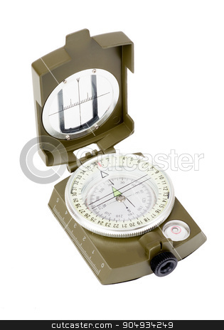 Vintage compass on white stock photo, Vintage compass on isolated white background, closeup by cherezoff