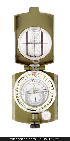 Vintage compass on white stock photo, Vintage brass compass on isolated white background by cherezoff