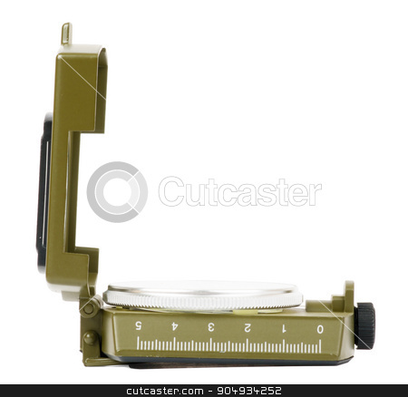 Vintage compass on white stock photo, Vintage brass compass on isolated white background, side view by cherezoff