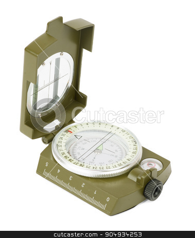 Vintage compass on white stock photo, Vintage brass compass on isolated white background, closeup by cherezoff