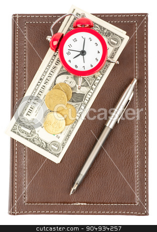 Leather daily planner with cash and alarm clock stock photo, Leather daily planner with pen and cash and alarm clock on isolated white background by cherezoff