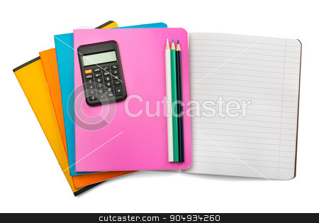Open notebook with set of crayons and calculator stock photo, Open notebook with crayons, calculator on isolated white background, closeup by cherezoff