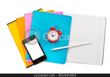 Open colorful notebook with smartphone stock photo, Open colorful notebook with smartphone and alarm clock on isolated white background, closeup by cherezoff