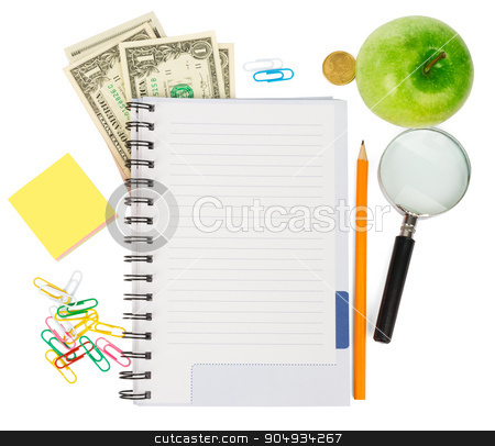 Open notebook with stationery and apple stock photo, Open notebook with stationery and apple isolated white background, closeup by cherezoff
