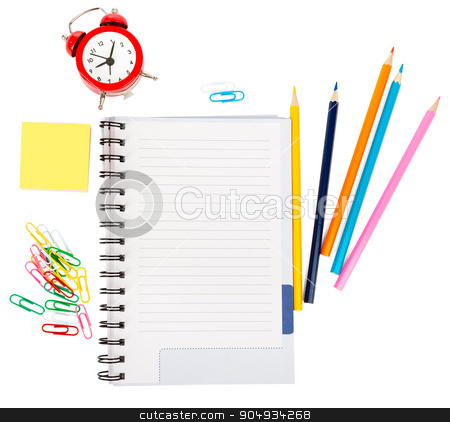 Open notebook with stationery and alarm clock stock photo, Open notebook with stationery and alarm clock isolated white background, closeup by cherezoff