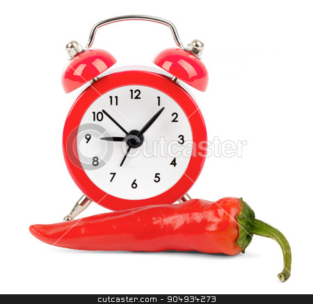 Red hot pepper with alarm clock stock photo, Red hot pepper with red alarm clock on isolated white background by cherezoff