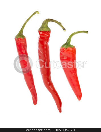 Red hot pepper stock photo, Red hot pepper single on isolated white background by cherezoff