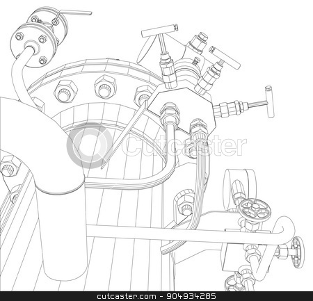 Scetch of heat exchanger stock vector clipart,  Scetch of heat exchanger with pipes on white background by cherezoff