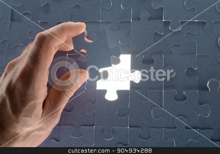 Missing jigsaw puzzle piece with light glow stock photo, Missing jigsaw puzzle piece for completing the final puzzle piece, white space by cherezoff