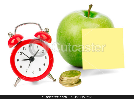 Fresh apple with alarm clock stock photo, Fresh apple with alarm clock and gold coins on isolated white background by cherezoff