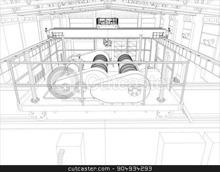 Illustration of equipment for heating system stock vector clipart, Illustration of equipment for heating system on white, top view by cherezoff