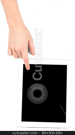 Female hand touching tablet stock photo, Female hand touching tablet with black screen on isolated white background by cherezoff