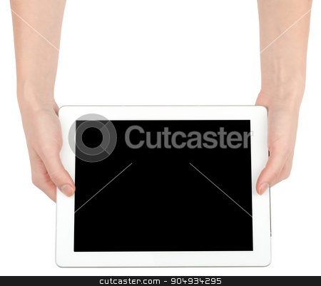 Female hands holding tablet stock photo, Female hands holding tablet with black screen on isolated white background, closeup by cherezoff