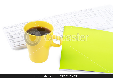 Keyboard with coffee and notebook stock photo, Keyboard with cup of coffee and notebook on isolated white background by cherezoff