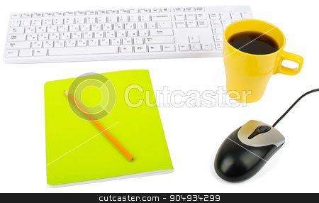 Cup of coffee with keyboard and mouse stock photo, Cup of coffee with keyboard, mouse and notebook on isolated white background, closeup by cherezoff