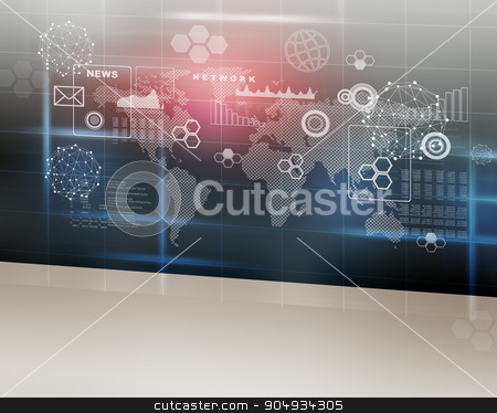 Abstract background with world map stock photo, Abstract background with world map and molecules by cherezoff