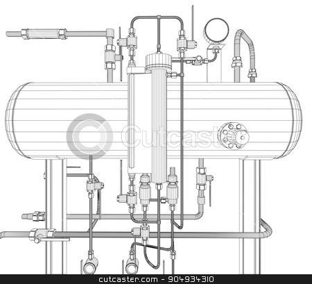 Scetch of heat exchanger on white stock vector clipart, Scetch of heat exchanger on white background by cherezoff