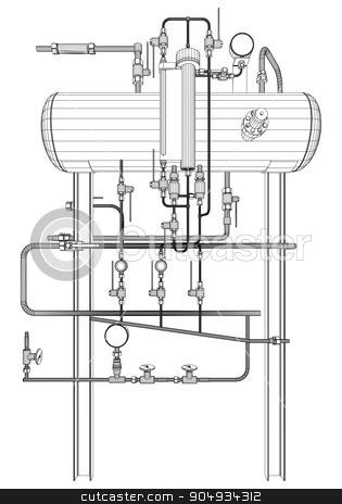 Picture of heat exchanger stock vector clipart,  Picture of heat exchanger on white background by cherezoff