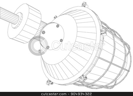 Picture of heat exchanger stock vector clipart,  Picture of heat exchanger on white background, side view by cherezoff