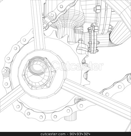 Picture of heat exchanger stock vector clipart,  Picture of heat exchanger with shafts on white background, close up view by cherezoff
