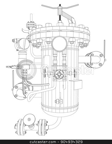 Scetch of heat exchanger stock vector clipart,  Scetch of heat exchanger with pipes, close up view by cherezoff