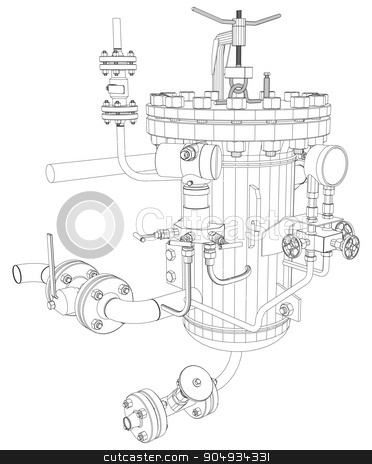 Picture of heat exchanger stock vector clipart,  Picture of heat exchanger with shafts on white background, front view by cherezoff