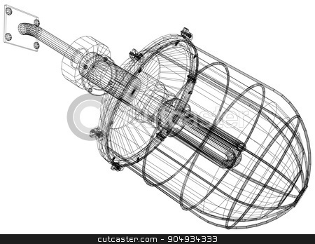 Xray of heat exchanger stock vector clipart,  Xray of heat exchanger with pipes on white background, close up view by cherezoff