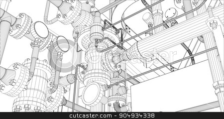Illustration of equipment for heating system stock vector clipart, Illustration of equipment for heating system on white background by cherezoff
