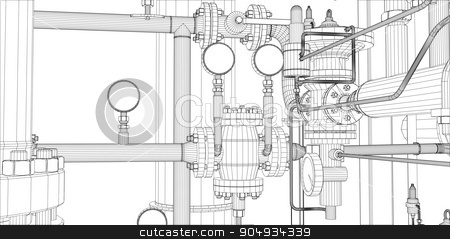 Illustration of equipment for heating system stock vector clipart, Illustration of equipment for heating system on white background, front view by cherezoff