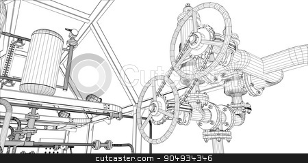 Illustration of equipment for heating system stock vector clipart, Illustration of equipment for heating system with shafts on white background by cherezoff
