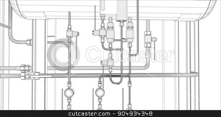 Illustration of equipment for heating system stock vector clipart, Illustration of equipment for heating system with pipes on white  by cherezoff