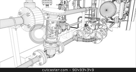 Illustration of equipment for heating system stock vector clipart, Illustration of equipment for heating system with pipes and shafts by cherezoff
