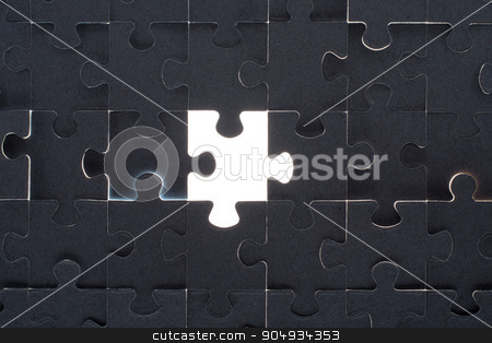 Grey puzzle background with empty space stock photo, Grey puzzle background with empty white space, close up view by cherezoff