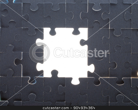 Grey puzzle background with empty space stock photo, Grey puzzle background with big empty white space, close up view by cherezoff
