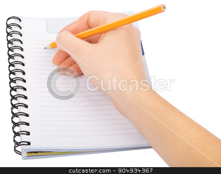 Hand writing in copybook stock photo, Hand writing in notebook on isolated white background by cherezoff