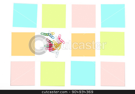 Paper clips with stickers stock photo, Paper clips with colorful stickers on white by cherezoff