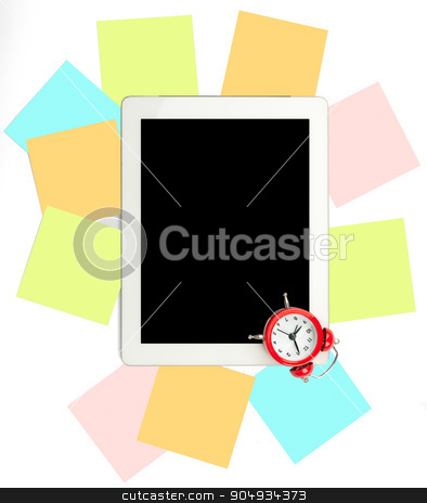 Alarm clock with set of stickers and tablet stock photo, Alarm clock with set of stickers and tablet on white by cherezoff